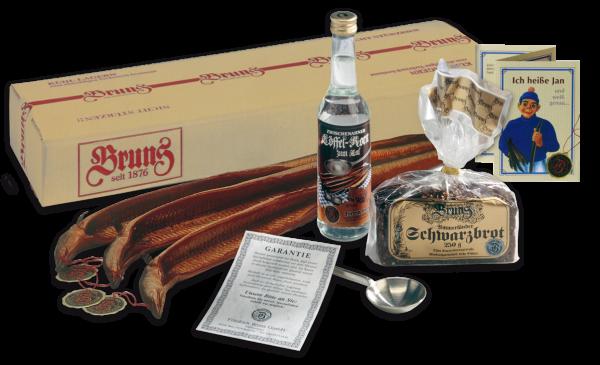 Feinste Spieker-Aale (950g) mit Brot, Korn und Zinnlöffel